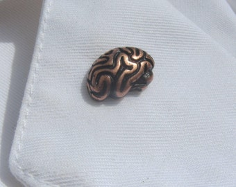 Copper Brain Lapel Pin-  CC157C-  Neurology and Medical Pins for Doctors and Nurses- Hospital and Anatomy Pins