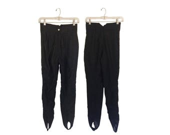 Vintage Ski Pants Stirrup Head Sportswear Black Size 0 Petite Clothing High Waisted Pants Tight Retro Winter Snow Women Activewear Ladies