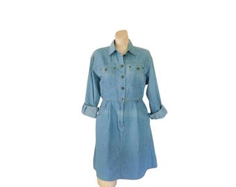Petite Dress Petite Clothing Chambray Dress Denim Dress Women Blue Jean Dress 1990s Dress 90s Dress Button Up Dress Long Sleeve Dress Midi
