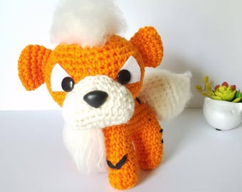 Pokemon Growlithe Toy. Growlithe Plush Toy. Amigurumi Growlithe. Puppy Pokemon.