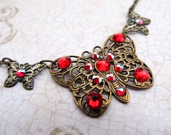 Art Nouveau Butterfly Necklace Art Deco Necklace Gothic Necklace Steampunk Necklace 1920s Crystal Necklace Dragonfly Necklace- Flitter