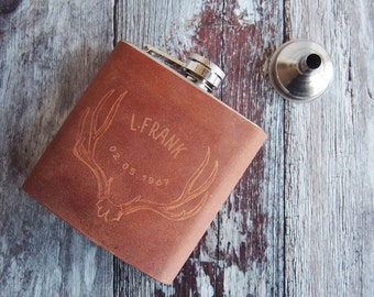 Personalised Antler Hip Flask, tan brown leather, customised stag leather flask, Genuine Leather goods, outdoors accessories, wedding gift