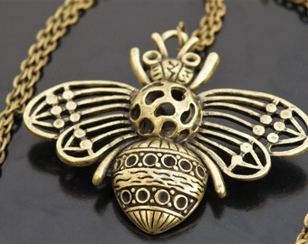 Bee Pendant Necklace Honeybee Insect - Natural Earthy Jewelry - Bohemian Nature Hippie Boho Antique Bronze Gypsy - Save the Bees