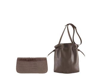 Leather shoulder bag LILO, LOLA // deep brown alligator crocodile effect (Italian calf skin) - FREE shipping, unique