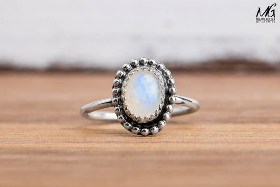 Midi Ring - Blue Rainbow Moonstone Gemstone Ring in Sterling Silver - Size 3