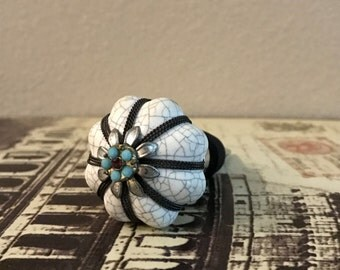 Wine Bottle Stopper - Ceramic Black and Turquoise Scalloped Floral Wine Stopper