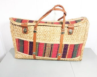 Vintage Bohemian Woven Straw Tote - Boho Straw Market Bag - Overnight Bag - Large Straw Tote - Bohemian Style - Mexican Striped Beach Bag