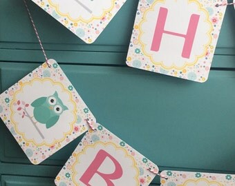 GIRLIE OWL Theme Baby Shower or Happy Birthday Party Banner - Floral Teal - Party Packs Available