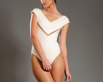 "Bride leotard lingerie ""WHITE BINA"" SALE!!! cool, sophisticated handmade leotard perfect for dancing and having fun."