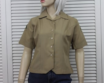 Vintage Woman's Military Blouse Khaki with Rifle Patches Size Small