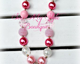 Cupcake Pink Chunky Bead Necklace for Girl/Birthday gifts/photo prop/Cupcake Rhinestone Necklace/Pink Necklace