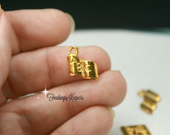 ABC Book Charm 10 Charms Gold Tone 17 x 11 mm  cg197