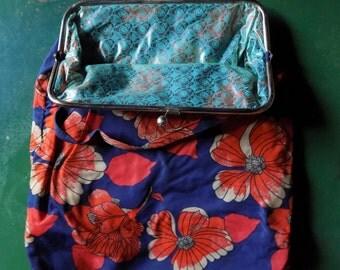 Grandma's Bag - VIntage 60's Floral Tote, floral market bag 70's