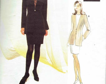 Vogue Attitudes Badgley Mischka Pattern 1491. Women's Suit, Tunic and Skirt. Uncut, FF Sizes 18-20-22 Bust 40-42-44 inches.