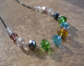 Faceted Glass Beaded Link Necklace with Gunmetal Chain, Colorful Jewelry, OOAK Necklace, Elegant Jewelry
