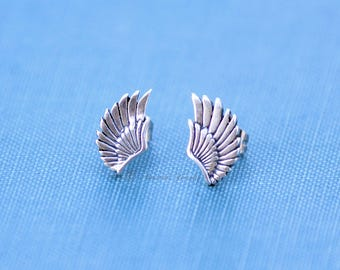 Angel Wing Earrings, Sterling Silver Studs, Memorial Jewelry, dainty simple earrings, minimalist jewelry, small studs, angels, angel jewelry