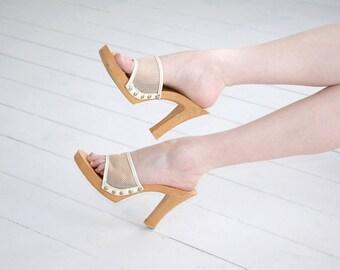 Vintage white platform heels, tan shoes sandals, peep toe mesh 1970s retro slip-on pumps, 9 40