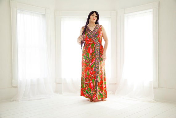 Vintage red floral maxi dress, colorful sleeveless empire boho goddess, XL plus size, 1960s 1970s