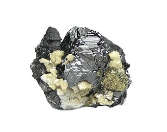 Sphalerite black metallic ore crystals with dolomite druzy and Golden Chalcopyrite Mineral Specimen