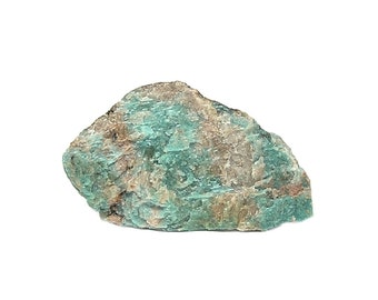 Amazonite with Crystalline Quartz Blue Green Gemstone Feldspar Microcline Rock Slice Lac Sairs Quebec Mineral Specimen