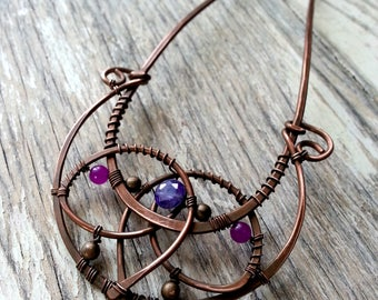 Purple Lotus Hair  fork or hair stick, metal hair pin, wire wrapped copper hair fork,  boho bun pin, wire wrap hair accessories