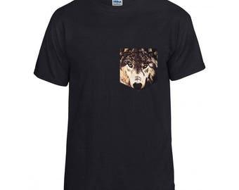 Wolf face pocket tshirt S/M/L/XL/2x/3x