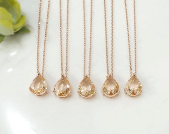 Bridesmaid gifts - Set of 4,5,6 -champagne necklace, peach necklace, rose gold necklace, long necklace,stone in bezel,raindrop Necklace,