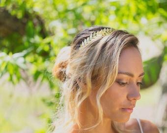 Gold Headband,Leaf Grecian Headband, Gold Wedding Headband, Gold Brass Bridal Headpiece, Greek Headband, Laurel Hair Piece, Grecian