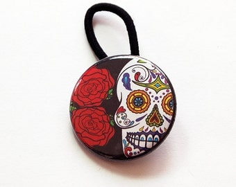 Skull Ponytail Holder, Skull hair elastic, Hair Elastic, Pony tail holder, stocking stuffer, sugar skull, day of the dead (6122)