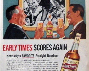 EARLY TIMES WHISKY Kentucky Bourbon Ad Man Cave Football Players Bar Decor Home Decor Vintage Whiskey Advertisement Ready To Frame