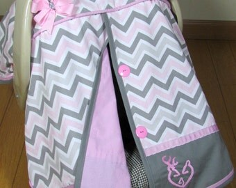 Pink and Gray Chevron Car Seat Canopy with or without Deer Family /Baby Carseat Cover/ Infant Carseat Canopy Cover