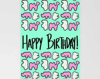 PRINTABLE: Frosted Animal Cookies Birthday Card | Blank 5x7 Greeting Card | Kids Birthday | Adult Birthday | Cookie Party