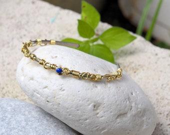 Minimal Wire bangle bracelet Greek goddess Grecian jewelry Gift for her Minimalistic Artisan jewelry Wire wrap bracelet Gift ideas Gold Blue