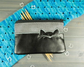 Silhouette Cat Zipper Pouch - Black and Gray Knitting Tool Bag - Cat Lover Gift - Embroidered Zip Bag