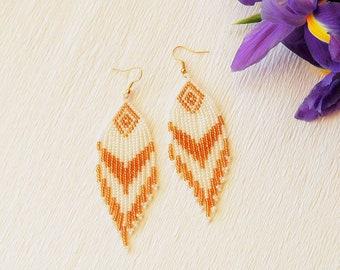 Seed Bead Earrings - Long Earrings - Boho Style Earrings, Beaded Earrings, Fringe Earrings, White Golden Earrings, Dangle Earrings