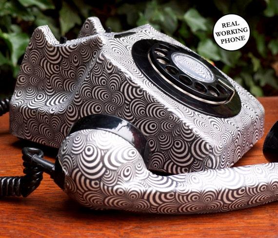 Custom Retro Psychedelic Zebra Upcycled Decorated Vintage Rotary Phone FULLY WORKING