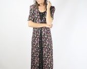 90s ditsy floral maxi dress, 90s boho grunge midi dress, Medium Large 3875