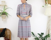 70s Aztec long sleeve button up shirt dress w/ neck tie, Bohemian Japanese vintage, Small 4056