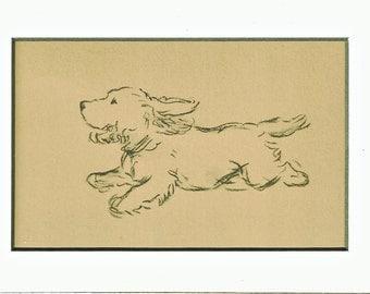 Antique MATTED Dog Print, 1930s Terrier Lucy Dawson, 5x7 Mounted Print Puppy Print, black & white Wall Decor Interior Design, B-5