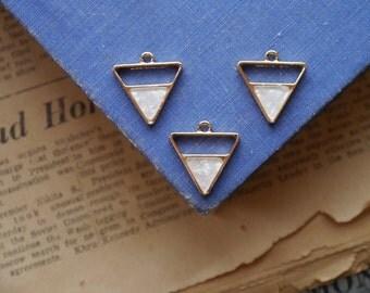 3pcs Gold Triangle AB Opal Geometric Triangular Charms 21mm (GC3060)
