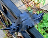 Crow Feather Stick Barrette, Handmade Medium Leather Feather Hair Decoration, Black Raven or Crow Feather