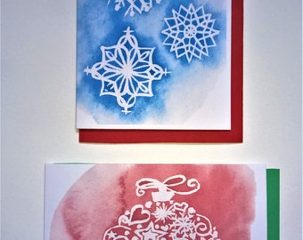 Digital Download Printable Two Christmas Cards: Blue Snowflakes and Red Bauble