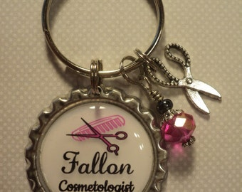 Personalized Cosmetologist/Hair Stylist key chain with charms