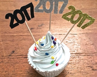 2017 Cupcake Toppers -- New Years Eve Party Toppers / Graduation Party /  Class of 2017 Party Decorations