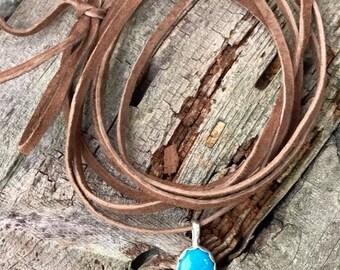 Leather Wrap Choker - Kingman Turquoise