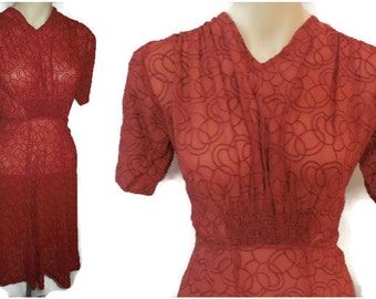 Vintage 1930s Dress Sheer Red Embroidered Circles Ruching Puffed Sleeves Bias Cut Art Deco Must See! M waist to 29 in AS IS