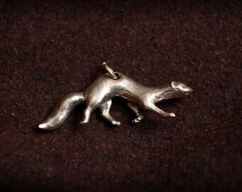 Ferret charm, mink, weasel, Sterling Silver