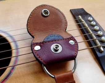 Guitar Pick Case Leather Pick Pouch Keyring Guitarist Accessory Gift for him Gift for her