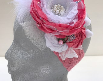 Rose pink headband~Girl lace headband~Baby headband~Flower girl~Photo prop~Photography prop~Prop~Girl~Wedding headband~Gift