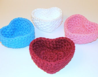 Large Valentine Heart Shaped Basket, thoughtful I Love You Gift, Jewelry Box Storage Bin, Baby's Nursery Boy or Girl gifts, in 8 colors